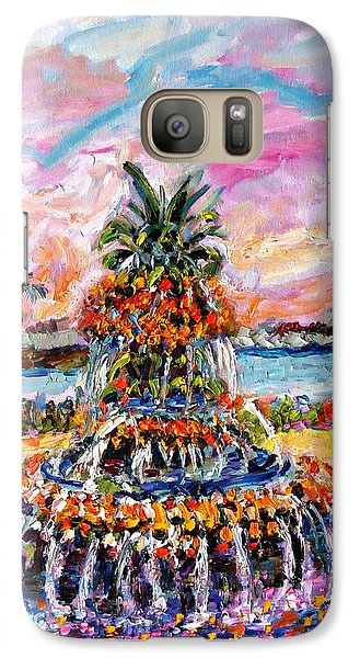 Galaxy Case featuring the painting Charleston Pineapple Fountain Sc by Ginette Callaway