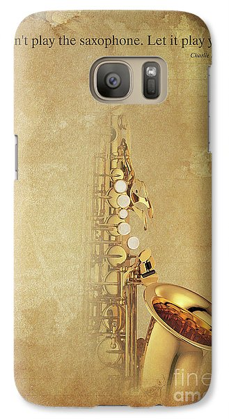 Charlie Parker Saxophone Brown Vintage Poster And Quote, Gift For Musicians Galaxy S7 Case