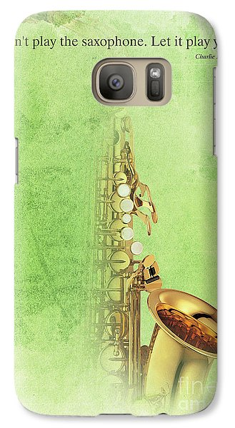 Charlie Parker Saxophone Green Vintage Poster And Quote, Gift For Musicians Galaxy S7 Case