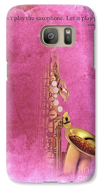 Charlie Parker Saxophone Light Red Vintage Poster And Quote, Gift For Musicians Galaxy S7 Case