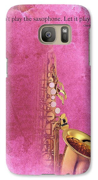 Charlie Parker Saxophone Light Red Vintage Poster And Quote, Gift For Musicians Galaxy S7 Case by Pablo Franchi