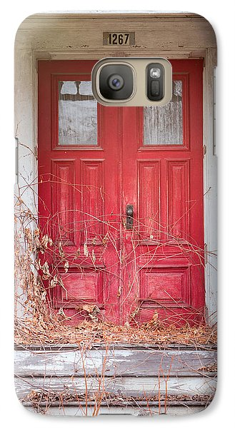 Galaxy Case featuring the photograph Charming Old Red Doors Portrait by Gary Heller