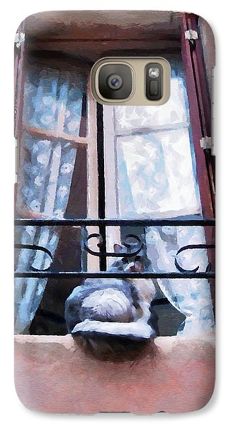 Chat Bleu Dans La Fenetre Rose Galaxy S7 Case