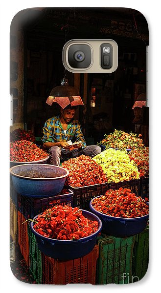 Galaxy Case featuring the photograph Cheannai Flower Market Colors by Mike Reid
