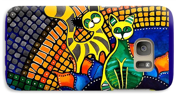Galaxy Case featuring the painting Cheer Up My Friend - Cat Art By Dora Hathazi Mendes by Dora Hathazi Mendes