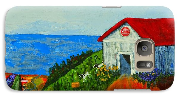 Galaxy Case featuring the painting Cheerwine Barn by Angela Annas