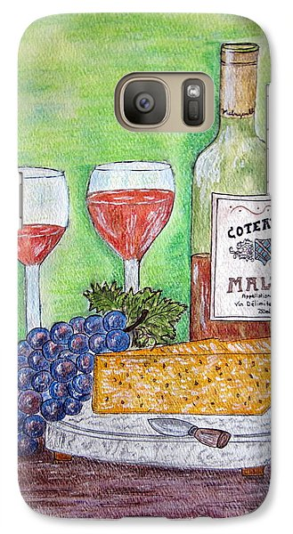 Galaxy Case featuring the painting Cheese Wine And Grapes by Kathy Marrs Chandler