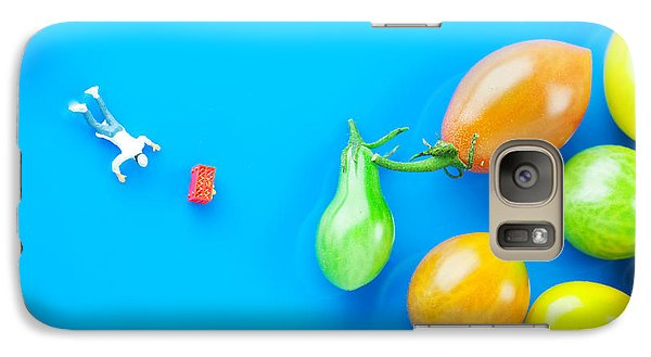 Galaxy Case featuring the painting Chef Tumbled In Front Of Colorful Tomatoes II Little People On Food by Paul Ge