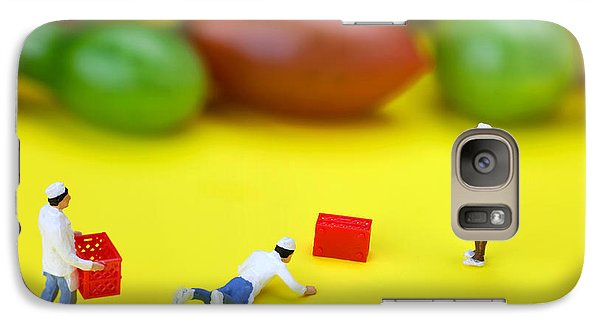 Galaxy Case featuring the painting Chef Tumbled In Front Of Colorful Tomatoes Little People On Food by Paul Ge