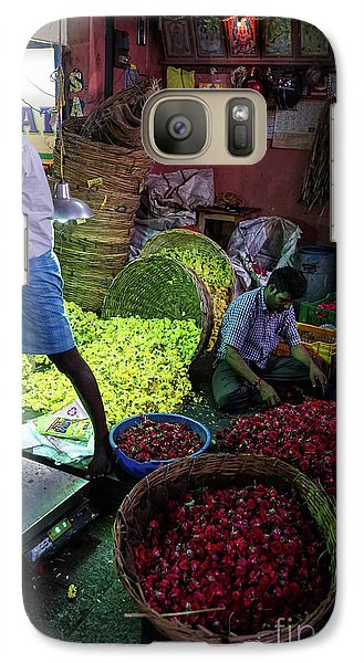 Galaxy Case featuring the photograph Chennai Flower Market Busy Morning by Mike Reid