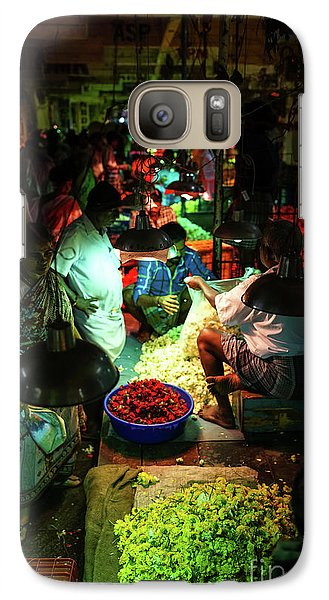 Galaxy Case featuring the photograph Chennai Flower Market Stalls by Mike Reid