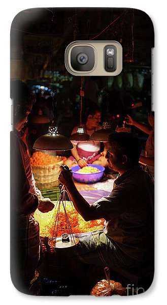 Galaxy Case featuring the photograph Chennai Flower Market Transaction by Mike Reid