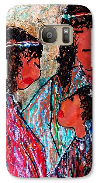Galaxy Case featuring the painting Cherokee Trail Of Tears Brave Family by Laura  Grisham