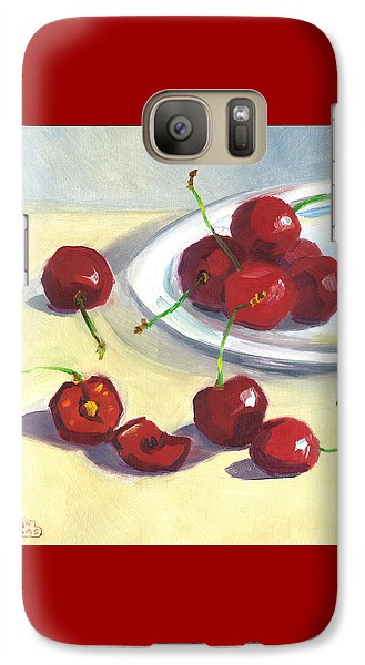 Galaxy Case featuring the painting Cherries On A Plate by Susan Thomas