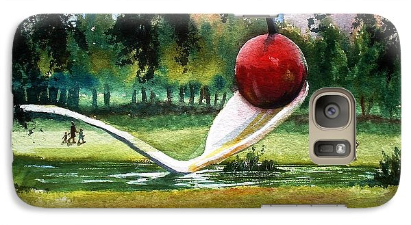 Galaxy Case featuring the painting Cherry And Spoon by Marilyn Jacobson