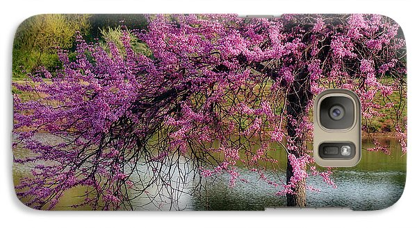 Galaxy Case featuring the photograph Cherry Blossoms By The Pond by Sue Melvin