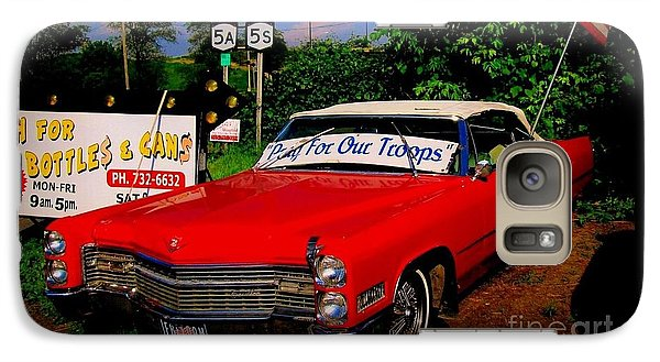 Galaxy Case featuring the photograph Cherry Red American Patriot 1966 Cadillac Coupe De Ville by Peter Gumaer Ogden