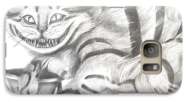 Galaxy Case featuring the drawing Chershire Cat  by Meagan  Visser