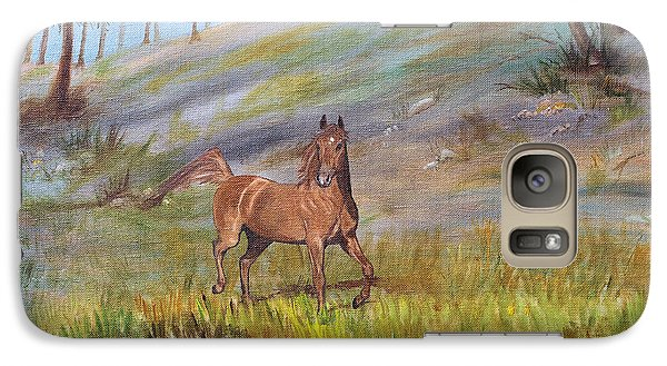Galaxy Case featuring the painting Chestnut Stallion by Jan Amiss