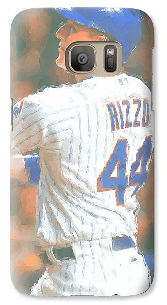 Chicago Cubs Galaxy S7 Case - Chicago Cubs Anthony Rizzo 2 by Joe Hamilton