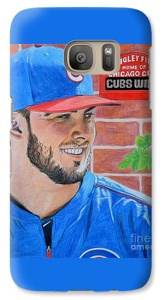 Galaxy Case featuring the drawing Chicago Cubs Kris Bryant Portrait by Melissa Goodrich