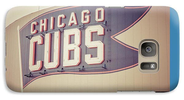 Chicago Cubs Sign Vintage Picture Galaxy Case by Paul Velgos