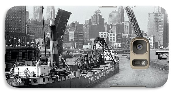 Galaxy Case featuring the photograph Chicago Draw Bridge 1941 by Daniel Hagerman