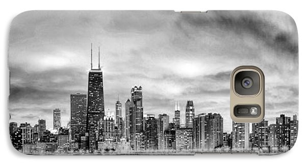 Chicago Gotham City Skyline Black And White Panorama Galaxy Case by Christopher Arndt