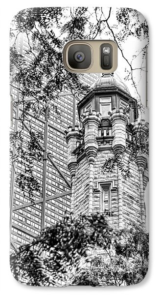 Galaxy S7 Case featuring the photograph Chicago Historic Water Tower Fog Black And White by Christopher Arndt