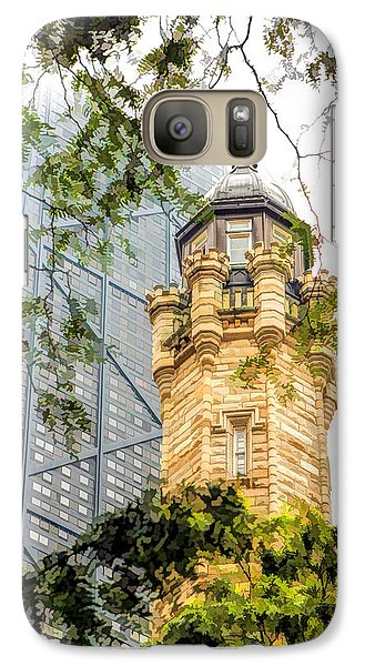 Galaxy S7 Case featuring the painting Chicago Historic Water Tower Fog by Christopher Arndt