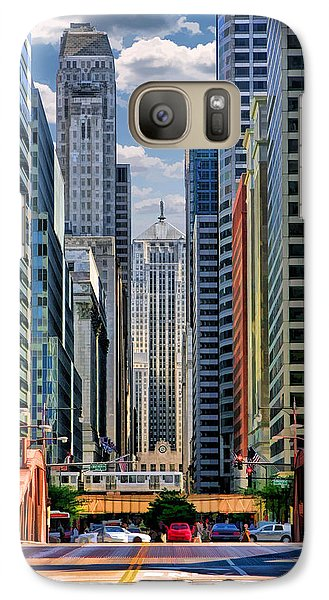 Galaxy Case featuring the painting Chicago Lasalle Street by Christopher Arndt