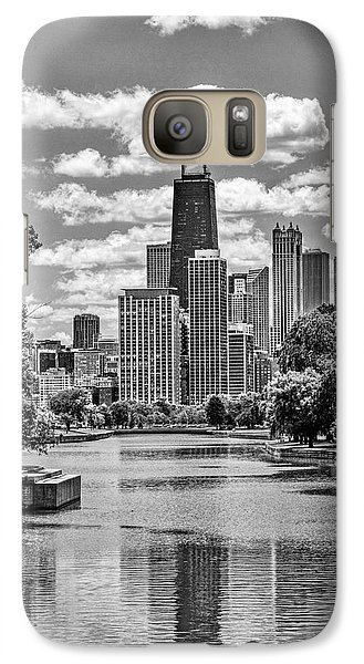 Galaxy S7 Case featuring the painting Chicago Lincoln Park Lagoon Black And White by Christopher Arndt