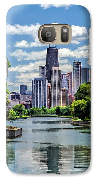 Galaxy S7 Case featuring the painting Chicago Lincoln Park Lagoon by Christopher Arndt