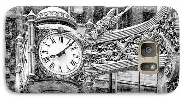 Galaxy S7 Case featuring the photograph Chicago Marshall Field State Street Clock Black And White by Christopher Arndt