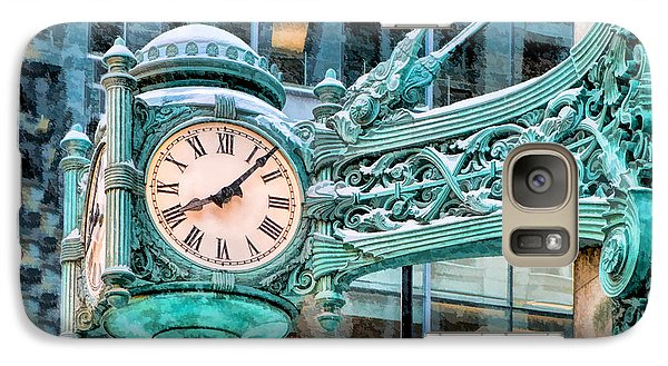 Galaxy S7 Case featuring the painting Chicago Marshall Field State Street Clock by Christopher Arndt