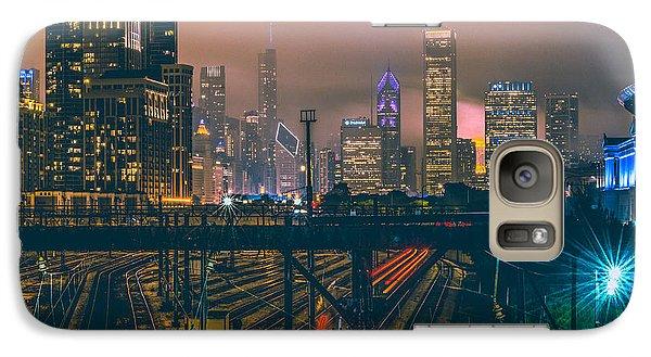 Transportation Galaxy S7 Case - Chicago Night Skyline  by Cory Dewald