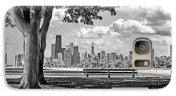 Galaxy Case featuring the photograph Chicago North Skyline Park Black And White by Christopher Arndt