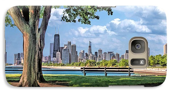 Galaxy Case featuring the painting Chicago North Skyline Park by Christopher Arndt