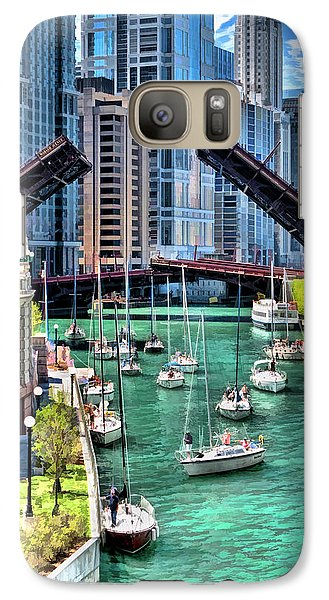 Galaxy Case featuring the painting Chicago River Boat Migration by Christopher Arndt