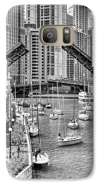 Galaxy S7 Case featuring the photograph Chicago River Boat Migration In Black And White by Christopher Arndt