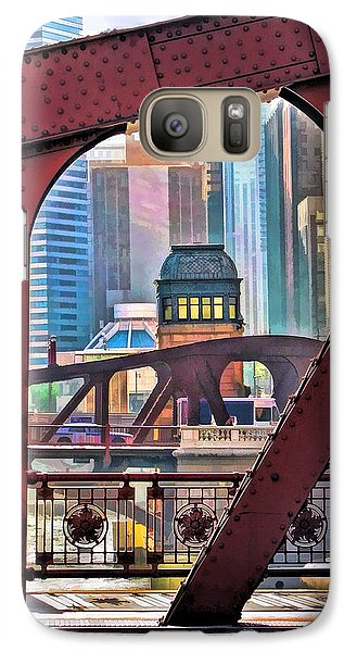 Galaxy S7 Case featuring the painting Chicago River Bridge Framed by Christopher Arndt