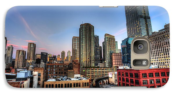 Galaxy Case featuring the photograph Chicago Rooftop And Sunset by Shawn Everhart