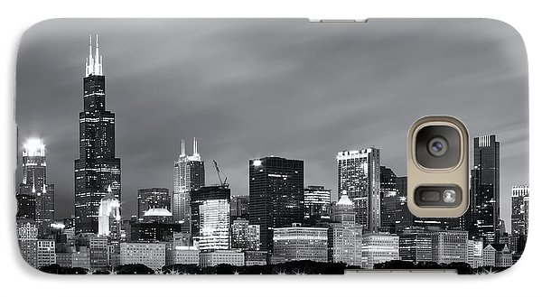 Galaxy Case featuring the photograph Chicago Skyline At Night Black And White  by Adam Romanowicz