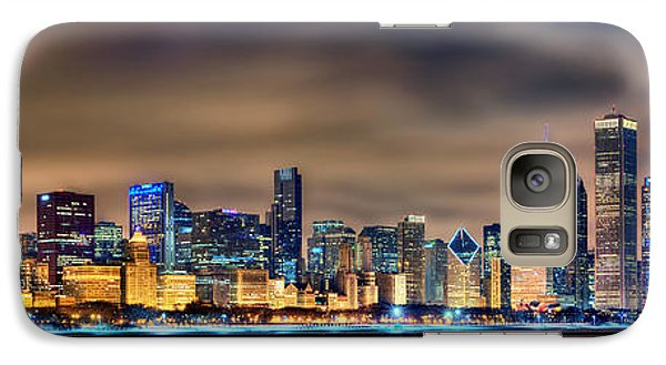 Chicago Skyline Galaxy S7 Case - Chicago Skyline At Night Panorama Color 1 To 3 Ratio by Jon Holiday