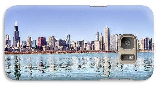 Galaxy Case featuring the photograph Chicago Skyline Reflecting In Lake Michigan by Peter Ciro
