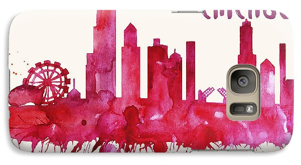 Chicago Skyline Watercolor Poster - Cityscape Painting Artwork Galaxy S7 Case
