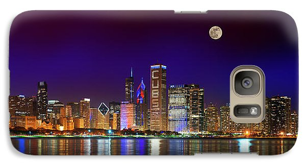 Chicago Skyline With Cubs World Series Lights Night, Moonrise, Lake Michigan, Chicago, Illinois Galaxy S7 Case