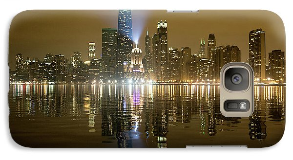Galaxy Case featuring the photograph Chicago Skyline With Lindbergh Beacon On Palmolive Building by Peter Ciro