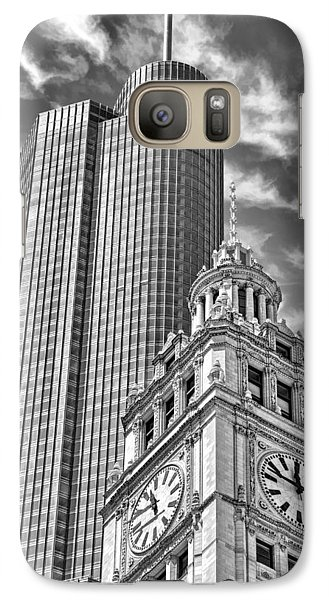 Galaxy S7 Case featuring the photograph Chicago Trump And Wrigley Towers Black And White by Christopher Arndt