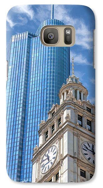 Galaxy S7 Case featuring the painting Chicago Trump And Wrigley Towers by Christopher Arndt